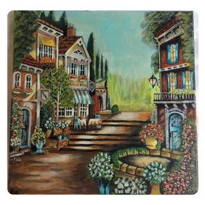 Utcai lépcső , Képzőművészet, Otthon & lakás, Festmény, Akril, Dekoráció, Festészet, Festett tárgyak, A festmény 30 x 30 cm - es,vakkeretes alapozott vászonra van Akrillal festve.Lakkozott és képakasztó..., Meska