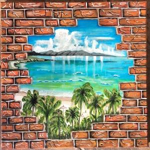 Karibi tengerpart., Dekoráció, Otthon & lakás, Képzőművészet, Festmény, Akril, Festészet, Festett tárgyak, Ez a festmény 40x40 cm -es.Akril festéket használtam ,majd vizes bázisú lakkal kezeltem.\nVakkeretre ..., Meska