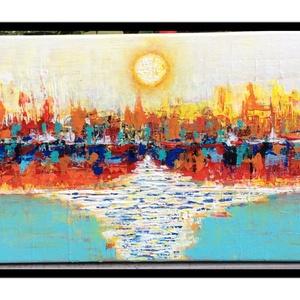 Naplemente.Absztrakt., Képzőművészet, Otthon & lakás, Festmény, Akril, Napi festmény, kép, Festészet, Festett tárgyak, A vászon 25x50 cm.Gessoval alapozva,és Akrillal festve.Lakkozva is van.Kérésre képakasztót is teszek..., Meska