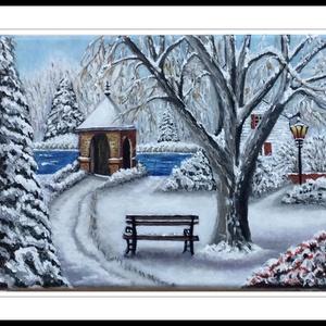 Téli kert, Akril, Festmény, Művészet, Festett tárgyak, Festészet, A festmény 18x24 cm-es,fenyőfa keretre feszített vászonra készült.Akril festéket hasznàltam.A vègén ..., Meska