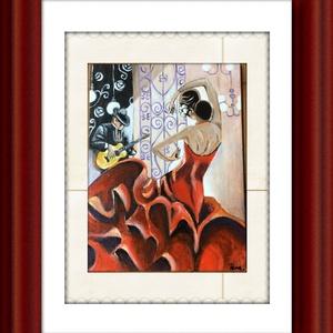 Flamenco, Képzőművészet, Otthon & lakás, Festmény, Akril, Dekoráció, Festészet, Festett tárgyak, A festmény 18x24 cm-es,kartonos alapozott vászonra készült .Lakkozva van.Akril festéket használtam,é..., Meska