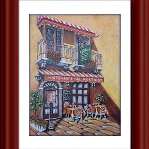 Rusztikus étterem., Képzőművészet, Otthon & lakás, Festmény, Akril, Festészet, Festett tárgyak, A festmény 30x40 cm-es és mindössze 2 mm vastagságú .Alapozott kartonos vászon.\nLakkozott és akasztó..., Meska