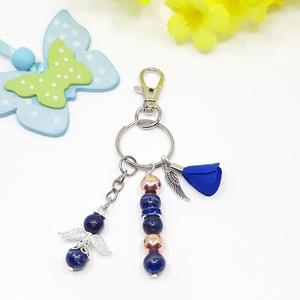 Lapis lazuli hematit ásvány kulcstartó táskadísz, Táska, Divat & Szépség, Kulcstartó, táskadísz, Ékszerkészítés, Ásványai: lapis lazuli, rose gold hematit\n\nMire hat: védelmező, önbizalom, bátorság, stresszoldó, en..., Meska