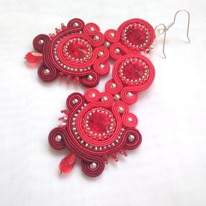 Theodora piros-bordó fülbevaló, Ékszer, Fülbevaló, Esküvő, Esküvői ékszer, Ékszerkészítés, A fülbevalóhoz  14 mm-es csodás piros színben pompázó Swarovski rivolikat, piros és bordó sujtászsin..., Meska