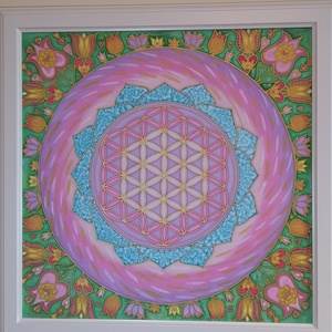 Mandala selyemkép Élet virága Tulipános, Otthon & Lakás, Dekoráció, Mandala, Festészet, Selyemfestés, 100 % hernyóselyemre festett mandala, ami az Élet virágát ábrázolja. A szegélyt általam rajzolt tuli..., Meska