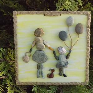 Anya és lánya, Otthon & Lakás, Dekoráció, Kép & Falikép, Mindenmás, Kislányával sétáló édesanyát ábrázól a képem mely boldogságot sugároz. A kép 20 X 20 cm-es festővász..., Meska