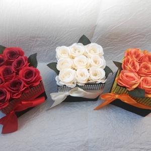 Csillogó rózsadoboz szett (3 db), Doboz, Emlék & Ajándék, Esküvő, Virágkötés, A szett 3 db 9 szálas selyemrózsadobozt tartalmaz, vörös, fehér, narancs és rózsaszín színekben vála..., Meska