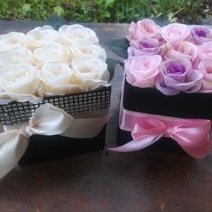 Csillogó rózsadoboz szett (2 db), Doboz, Emlék & Ajándék, Esküvő, Virágkötés, A szett 2 db 9 szálas selyemrózsadobozt tartalmaz. Választható fehér, rózsaszín és narancs színekben..., Meska