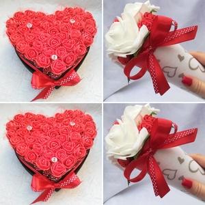Habrózsa ajándék szett (4 db), Csokor & Virágdísz, Dekoráció, Otthon & Lakás, Virágkötés, Ideális köszönőajándék esküvőre vagy óvónéniknek, dadusoknak. A szett 2 db kis szív alakú habrózsado..., Meska