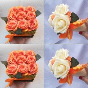 Köszönőajándék szett , Esküvő, Meghívó, ültetőkártya, köszönőajándék, Esküvői dekoráció, Otthon & lakás, Dekoráció, Virágkötés, A szett 2 db 9 szálas selyemrózsa dobozt és 2 db habrózsa csokrot tartalmaz tetszőleges színekben.\n\n..., Meska