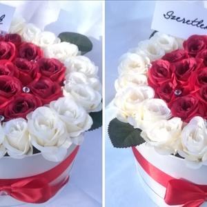 Szülőköszöntő ajándék szett, Szülőköszöntő ajándék, Emlék & Ajándék, Esküvő, Virágkötés, Esküvőre készülsz? Mondjatok köszönetet szüleiteknek ezekkel a nagyméretű selyemrózsa dobozokkal!\n35..., Meska