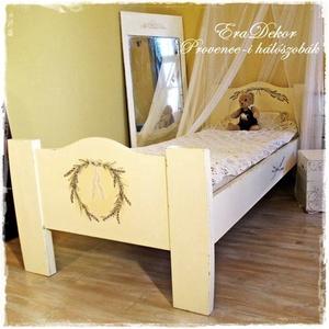 Levendulás álom ágy - Azonnal elvihető, Gyerek & játék, Otthon & lakás, Bútor, Ágy, Gyerekszoba, Festett tárgyak, Vintage hangulatú, festett, romantikus ágy,\nkislányoknak és nagylányoknak a gyerekszobába, \nvagy a p..., Meska