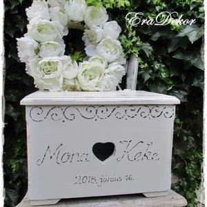 Vintage láda esküvőre és  keresztelőre, Esküvő, Emlék & Ajándék, Nászajándék, Festett tárgyak, Meska