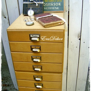 Vintage irattartó, fiókos szekrény, Otthon & Lakás, Bútor, Komód, Az ipari loft stílus kedvelőinek,  vintage sokfiókos, irattartó  szekrények keresik új otthonukat. E..., Meska
