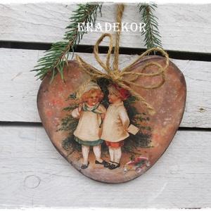 NAGYMÉRETŰ FA SZÍV, Otthon & Lakás, Dekoráció, Falra akasztható dekor, Vintage  dekoráció. Nagyméretű, festett fa szív. Gyerekszoba dekoráció,  ez egy nagy méretű, rusztik..., Meska
