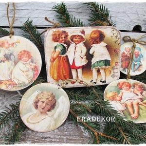 Vintage díszek gyerekszobába, Otthon & lakás, Dekoráció, Karácsony, Gyerek & játék, Gyerekszoba, Ünnepi dekoráció, Decoupage, transzfer és szalvétatechnika, Famegmunkálás, Ez a csomag 5db vintage hangulatú  díszt tartalmaz.\nBájos  decoupage mintával +festéssel készült.\nmé..., Meska
