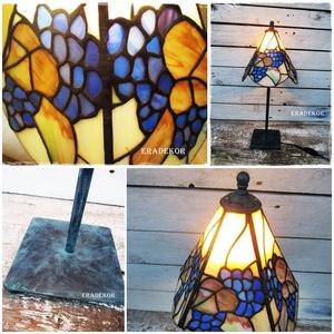 Vintage lámpa, Otthon & lakás, Lakberendezés, Lámpa, Asztali lámpa, Festett tárgyak, Tiffany üvegből készült, vintage lámpa.\nKb 30 éves, én készítettem, sok-sok apró üveg csiszolásával ..., Meska