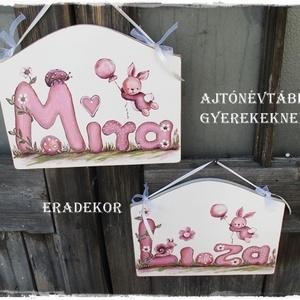 Ajtónévtábla lilában rózsaszínben, minden színben, Gyerek & játék, Gyerekszoba, Baba falikép, Otthon & lakás, Festett tárgyak, Személyre szóló ajtónévtáblákat festünk kislányoknak és kisfiúknak.\nJátékos betűkkel és állatokkal k..., Meska