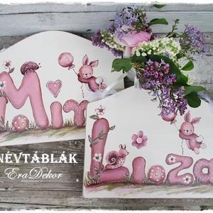 Pasztell rózsaszín ajtónévtábla, Gyerek & játék, Gyerekszoba, Gyerekbútor, Baba falikép, Festett tárgyak, Személyre szóló ajtónévtáblákat festünk kislányoknak és kisfiúknak.\nJátékos betűkkel és állatokkal k..., Meska
