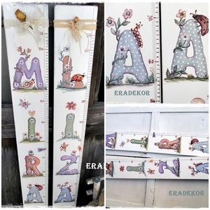 Magasságmérő gyerekeknek, Gyerek & játék, Gyerekszoba, Gyerekbútor, Baba falikép, Személyre szóló magasságmérőket  festünk kislányoknak és kisfiúknak. Játékos betűkkel és állatokkal ..., Meska