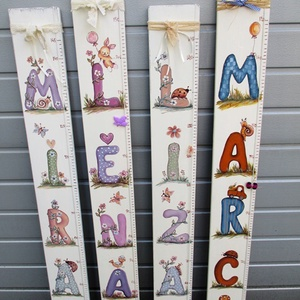 Milyen magas vagyok?, Játék & Gyerek, 3 éves kor alattiaknak, Személyre szóló magasságmérőket  festünk kislányoknak és kisfiúknak. Játékos betűkkel és állatokkal ..., Meska