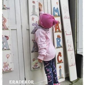 Felérem az L betűt?, Gyerek & játék, Gyerekszoba, Gyerekbútor, Baba falikép, Személyre szóló magasságmérőket  festünk kislányoknak és kisfiúknak. Játékos betűkkel és állatokkal ..., Meska