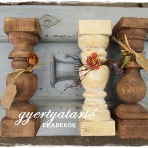 Vintage, romantikus  gyertyatartó, Otthon & lakás, Lakberendezés, Gyertya, mécses, gyertyatartó, Bútor, Rusztikusan romantikus fa gyertyatartókat készítünk. Nagy méretűek, több antikolt színben készülnek ..., Meska
