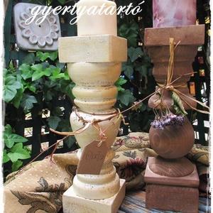Vintage, romantikus  gyertyatartó, Otthon & lakás, Lakberendezés, Gyertya, mécses, gyertyatartó, Bútor, Festett tárgyak, Rusztikusan romantikus fa gyertyatartókat készítünk.\nNagy méretűek, több antikolt színben készülnek\n..., Meska