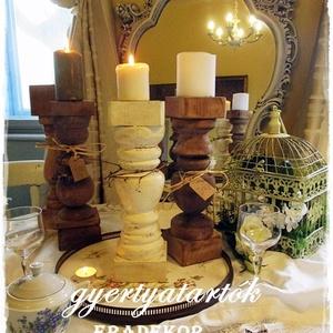 Nagy méretű fa gyertyatartók esküvőre, Otthon & lakás, Esküvő, Lakberendezés, Esküvői dekoráció, Gyertyafényes hangulat  a kertben, teraszon, az ünnepi asztalon, romantikus esküvőkön. A fa gyertyat..., Meska