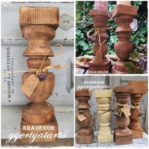 Vintage, rusztikus  gyertyatartó, Otthon & lakás, Lakberendezés, Gyertya, mécses, gyertyatartó, Bútor, Festett tárgyak, Rusztikusan romantikus fa gyertyatartókat készítünk.\nNagy méretűek, több antikolt színben készülnek\n..., Meska