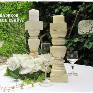 Vintage gyertyatartó esküvőre, Otthon & lakás, Lakberendezés, Esküvő, Esküvői dekoráció, Festett tárgyak, Gyertyafényes hangulat  a kertben, teraszon, az ünnepi asztalon, romantikus esküvőkön.\nA fa gyertyat..., Meska