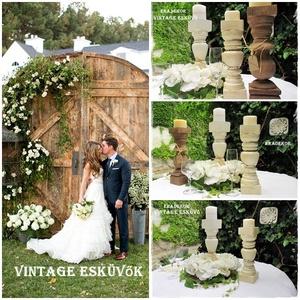 Vintage esküvőkre gyertyatartók, Otthon & lakás, Lakberendezés, Esküvő, Esküvői dekoráció, Festett tárgyak, Gyertyafényes hangulat  a kertben, teraszon, az ünnepi asztalon, romantikus esküvőkön.\nA fa gyertyat..., Meska
