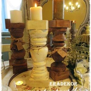 Karácsonyi hangulatok, Otthon & Lakás, Karácsony & Mikulás, Karácsonyi dekoráció, Festett tárgyak, Karácsonyi gyertyafényes hangulatot varázsolnak ezek a rusztikusan romantikus fa gyertyatartók.\nCelo..., Meska