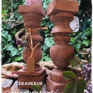Nagyméretű  fa gyertyatartó, Otthon & Lakás, Dekoráció, Gyertya & Gyertyatartó, Festett tárgyak, \nA fa gyertyatartók nagyméretűek, natúr barnás és  antikolt színekben készülnek.\nHasználható romanti..., Meska