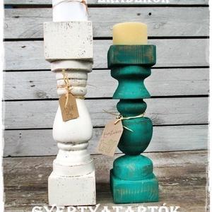 Vintage fa gyertyatartók, Otthon & Lakás, Lakberendezés, Festett tárgyak, Karácsonykor, gyertyafényes hangulatban.\nA fa gyertyatartók nagyméretűek, natúr barnás és  antikolt ..., Meska