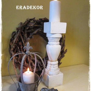 Romantikus ajándék, Karácsony & Mikulás, Karácsonyi dekoráció,  Nagyméretű, rusztikusan romantikus, fa gyertyatartókat készítünk. A fa gyertyatartók nagy méretűek,..., Meska