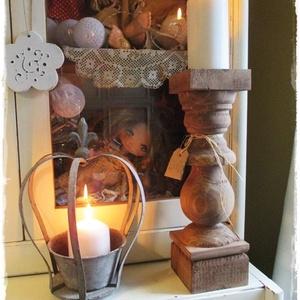 Rusztikus otthonok fényei, Otthon & Lakás, Dekoráció, Gyertya & Gyertyatartó,  Nagyméretű, rusztikusan romantikus, fa gyertyatartókat készítünk. A fa gyertyatartók nagy méretűek,..., Meska