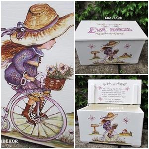 Biciklis kislány ANNO láda, Játék & Gyerek, 3 éves kor alattiaknak, Festett tárgyak, Vintage biciklis mintával festettem ezt a ládát, egy kislánynak, Évának.\nA képeken látható ládákat m..., Meska