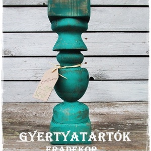 Vintage türkiz gyertyatartó, Karácsony & Mikulás, Karácsonyi dekoráció, Vintage fények. Nagyméretű, rusztikusan romantikus, fa gyertyatartókat készítünk. A fa gyertyatartók..., Meska