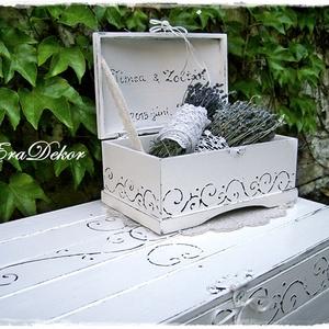 Vintage láda esküvőre, Esküvő, Emlék & Ajándék, Nászajándék,  Romantikus ajándék esküvőre. Esküvői kincsesláda, pénz és jókívánság  átadására. Nászajándék az ifj..., Meska