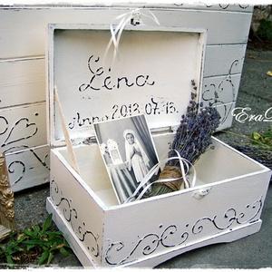 Vintage emlék  láda keresztelőre, Játék & Gyerek, Babalátogató ajándékcsomag,  Romantikus ajándék esküvőre, keresztelőre Babalátogató ajándék láda, emlékek tárolására. A baba nev..., Meska
