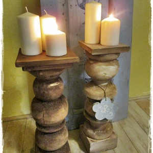 2db óriás antikolt fa gyertyatartó, Otthon & Lakás, Dekoráció, Gyertya & Gyertyatartó, Földre tehető, óriás,  rusztikusan romantikus, fa gyertyatartókat készítünk. A fa gyertyatartók nagy..., Meska