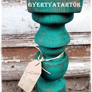 Vintage romantika, Otthon & Lakás, Dekoráció, Gyertya & Gyertyatartó, Festett tárgyak, Nagyméretű, rusztikusan romantikus, fa gyertyatartókat készítünk.\nA fa gyertyatartók nagy méretűek, ..., Meska