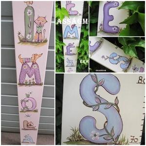 Milyen magas vagyok?, Játék & Gyerek, 3 éves kor alattiaknak, Festett tárgyak, Névre szóló magasságmérőket  festünk kislányoknak és kisfiúknak.\nJátékos betűkkel és állatokkal kész..., Meska
