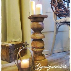 Óriás vintage gyertyatartók, Otthon & Lakás, Dekoráció, Gyertya & Gyertyatartó, Festett tárgyak, Nagyméretű, rusztikusan romantikus, fa gyertyatartókat készítünk.\nA fa gyertyatartók nagy méretűek, ..., Meska