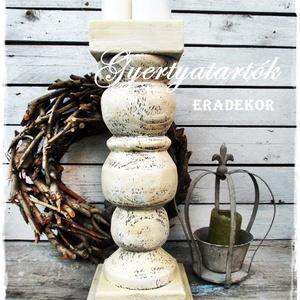 Varázslatos vintage fények, Otthon & Lakás, Dekoráció, Gyertya & Gyertyatartó, Festett tárgyak, Nagyméretű, fa gyertyatartó.\nAntikolt fehér, rusztikusan romantikus, fa gyertyatartókat készítünk.\nA..., Meska