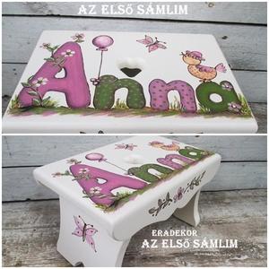 Lányos  mesék , Játék & Gyerek, Babalátogató ajándékcsomag, Festett tárgyak, Annának virágos és madaras sámli készült.\nEzeket a  sámlikat megrendelésre készítjük, a kis tulajdon..., Meska
