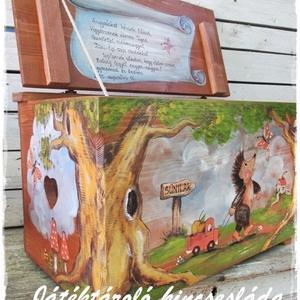 Barna erdős meseláda , Játék & Gyerek, Babalátogató ajándékcsomag, Festett tárgyak, Kislánynak és kisfiúknak készülnek ezek a játéktároló kincsesládák. \nNévre szóló ajándék, örök emlék..., Meska