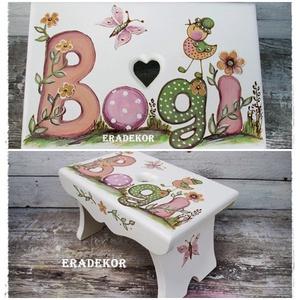 Tavaszi színek, madarak, virágok, Játék & Gyerek, Babalátogató ajándékcsomag, Festett tárgyak, Boginak virágos és madaras sámli készült.\nEzeket a  sámlikat megrendelésre készítjük, a kis tulajdon..., Meska