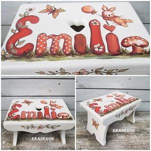 A repülő nyuszi meséje, Játék & Gyerek, Babalátogató ajándékcsomag, Festett tárgyak, Emilia  nevű kislánynak már kétszer készítettünk sámlikat. a minta hasonló, a színek nem.\nEzt a sáml..., Meska